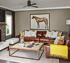 Living Room Design With Brown Leather Sofa Brown Leather Sectional Family Room Contemporary With Accent
