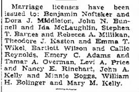 Marriage license for Emery C. Adams I and Tamer Overman - Newspapers.com