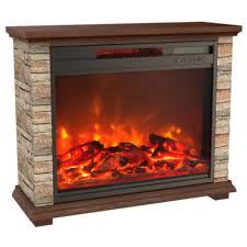 freestanding electric fireplace with remote control in off white faux stone and walnut mantel