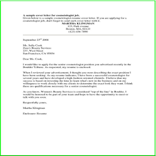 Fascinating Sample Cover Letter For Cosmetologist 65 For Sample