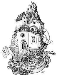 Kleurplaat Fantasie Huis Lavinia In 2019 Drawings Adult