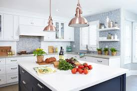 copper pendant lights kitchen attractive light contemporary with bin pulls blue tile inside 9