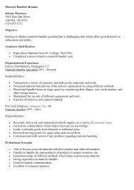 sample resume material handler resume sle baggage - Material Handler Sample  Resume