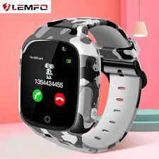 LEMFO çocuklar akıllı saat kamuflaj 2g SIM kart arama GPS konumu sesli  sohbet pedometre SOS bakımı akıllı bebek saati çocuk Akıllı Saatler