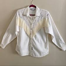 Vintage Tops | Lilia Smith Lace Fringe Western Shirt | Poshmark