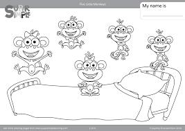 coloring pages five little monkeys coloring pages super simple