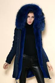 blue fur hooded coat navy parka real fur hood winter coats las long sleeve natural fur lined hood big size outerwear parkas s in faux fur from clothing