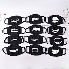 Mouth Mask Design Us 1 42 31 Off 18 Style Cool Unisex Teeth Design Mask Black Noctilucent Cotton Face Mask Mouth Mask Light In The Dark Anti Dust Keep Warm Masks In