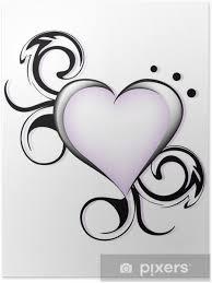 Plakát Stylizované Srdce Tetování
