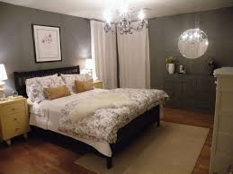 Bedroom:Warm Bedroom With Dark Gray Walls Also Glossy White Vanity And  Shabby Bed Simple