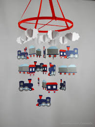 train nursery decorative mobile in navy blue red gray light