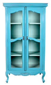 vintage style interior furniture in blue color slim display cabinet with glass door curved legs