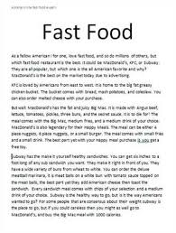 fast food essay questions docoments ojazlink argumentative essay fast food gse bookbinder co