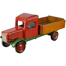 large wooden antique toy dump truck 1940s for