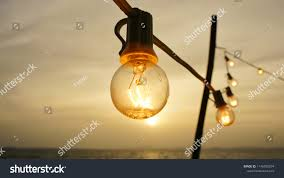 Bulb Fairy Lights Light Bulb Fairy Lights During Sunset Stock Photo Edit Now