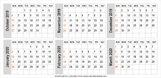 October 2019 March 2020 Template Calendar Editable Template