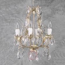 Vierflammiger Kronleuchter Pisa Silber Glas