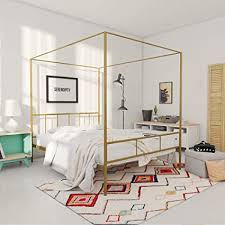 Amazon.com: Novogratz Marion Canopy Bed Frame, Gold, Queen: Kitchen ...