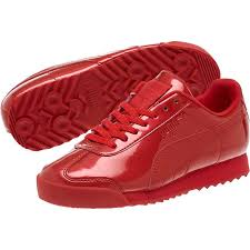 puma girls shoes puma roma patent jr sneakers girls high risk red white sneakers e97c4336