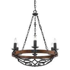 vargas collection 6 light black iron chandelier