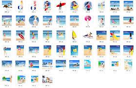 夏のビーチの休暇のパッケージのベクター素材 無料素材イラスト