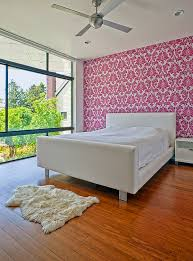 view in gallery pink patterned wallpaper for the bedroom accent wall
