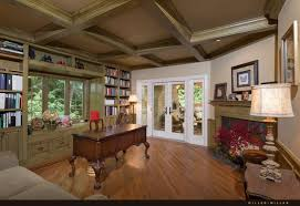 deluxe wooden home office. The Study Has A Gorgeous Coffered Ceiling, Fireplace, And Window Seat.  Ornate Deluxe Wooden Home Office