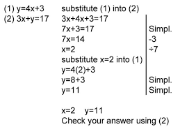 solve simple simultaneous equations