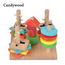 Game Played With Wooden Blocks Kids Wooden Toys Montessori Educational Toys Tower Game Building 74