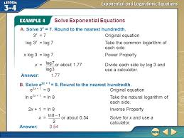 example 4 solve exponential equations a solve 3 x 7