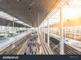 Modern Train Station Design Railroad Platform Modern Railway Station City Stock Photo