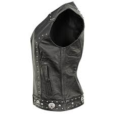 womens dakota leather motorcycle vest