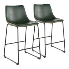 industrial counter stool with green faux leather and orange stitching set of 2 b26 dukz bk gn2 the home depot