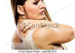 Woman scratching her back isolated. Health problem. young woman ...