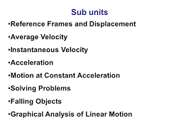 2 sub units reference frames and displacement average velocity instantaneous velocity acceleration motion at constant acceleration solving problems falling