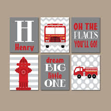 fire truck triptych art fire truck wall art fire truck decor canvas or prints fireman