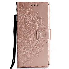 intricate embossing datura leather wallet case for samsung galaxy s7 edge s7edge rose gold leather case guuds