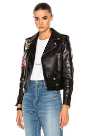 image 1 of saint lau embellished embroidered leather motorcycle jacket in black multi