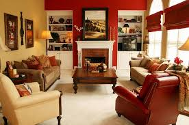 red accent wall brightens the fabulous room design robinson interiors