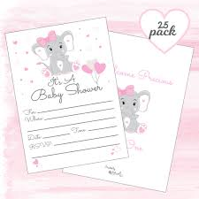 Pink Elephant Girl Baby Shower Invitations With Envelopes