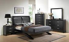 Bedroom furniture in black Grey Crown Mark B4380 Black Wood Bedroom Furniture Set Ebay Pieces Bedroom Furniture Sets Ebay