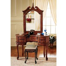 S Pd Design Toscano Queen Anne Dressing Table And Mirror Brown Makeup Vanity