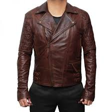mens vintage leather brown motorcycle jacket