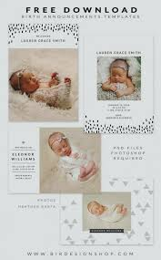 Buy 1 Get Free Birth Announcement Neutral Baby Card Template Instant ...