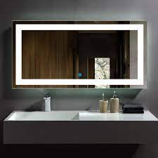 Amazon Com Dp Home Led Lighted Rectangle Bathroom Mirror Large Modern Wall Mirror With Lights Wall Mounted Makeup Vanity Mirror Over Cosmetic Bathroom Sink 48 X 24 In E Ck010 E Kitchen Dining