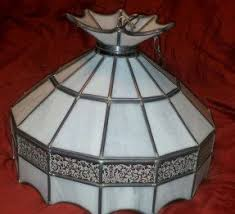 VINTAGE TIFFANY STYLE GLASS LAMP HANGING SLAG SWAG WHITE LEADED