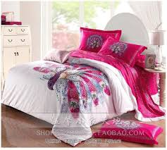 pea bird print hot pink bedding sets queen size duvet cover designer sheets bedspread bed in a bag quilt linen 100 cotton in bedding sets from home