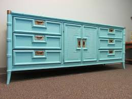 aqua painted vintage faux bamboo triple dresser by stanley furniture company 9 drawers w bamboo company furniture
