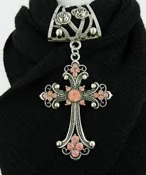 scarf slide with pink rhinestone cross scarf jewelry accessory product images of