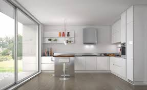 White Kitchen Furniture Wonderful White Kitchen Design With Smart Furniture And Glass Wall